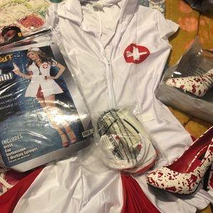 Couples Costume: Nurse, Patient Zombie Blood Mess
